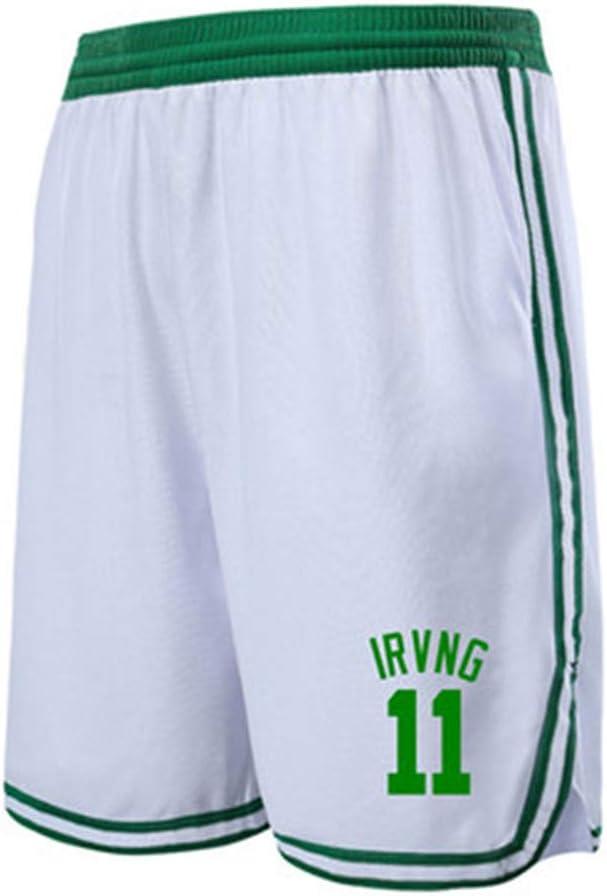 pantaloncini da allenamento per sport fitness da uomo Pantaloncini allentati Boston Celtics Kyrie Irving # 11 Shorts da basket da uomo con tasche Tasche lunghe da ragazzo