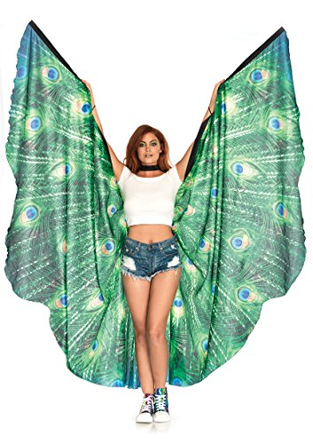 Leg Avenue Women's Peacock Feather Halter Wing Cape, Multi, One Sizes Fit Most