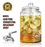 Durable Hammered Glass Large Beverage Dispenser - 3 Gallon Drink Jug - Stainless Steel Leak Free Spigot Included - Home Bar & Party Serveware