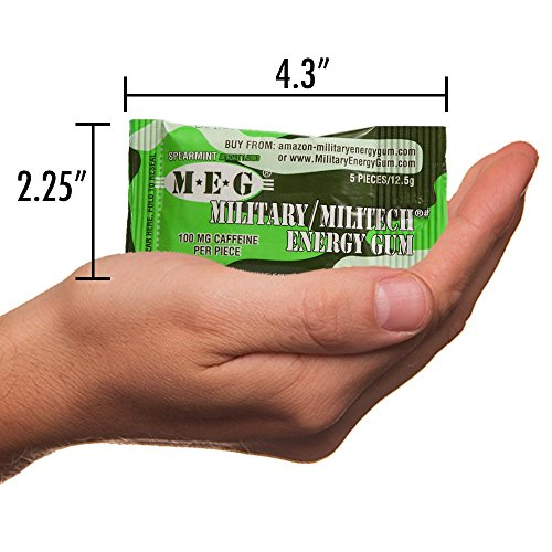 MEG - Military Energy Gum | 100mg of Caffeine Per Piece + Increase Energy + Boost Physical Performance + Spearmint (1,440 Count) by MEG (Image #5)
