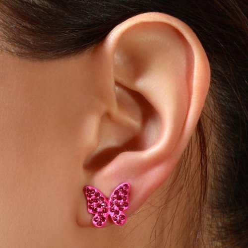 Boucles d'oreilles Lucy - Papillon serti de pierres du Rhin - Fuchsia