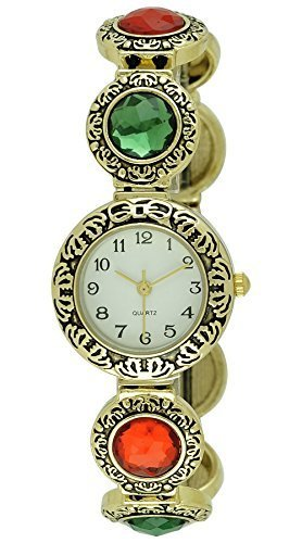 Moulin Women's Emerald and Ruby Stretch Band Watch #18413.73207