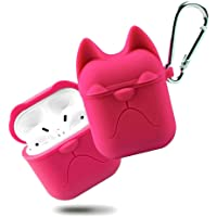 DEALPICK Bulldog Shape Silicone Shock Proof Protection Sleeve Skin Carrying Box for Airpods - Pink