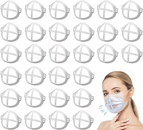 30 PCS Upgrade 3-D Mask Bracket Plastic Bracket Insert Soft Inner Support Holder Frame More Space for Comfortable Nose Breathing and Lipstick Protector