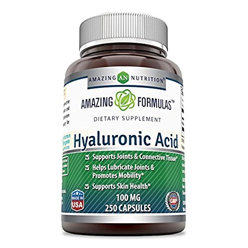 Amazing Formulas Hyaluronic Acid 100 mg 250 Capsules – Support Healthy Connective Tissue and Joints – Promote Youthful Healthy Skin