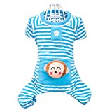 Dealzip Inc Blue Cute Small Pet Dog Stripes Pajamas Coat Cat Puppy Clothes Apparel Clothing Size XL For Sale