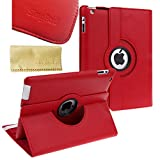 SingPad 360 Degree Rotating Stand Smart Cover PU Leather Case Apple New iPad 4 & 3 (3rd and 4th Generation with Retina Display) / IPad 2- Wake/sleep Function (Red)