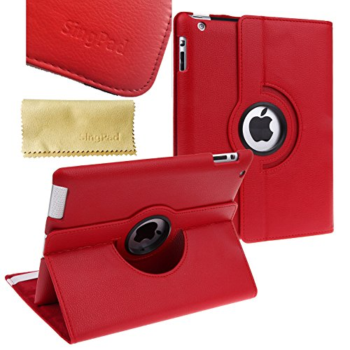 (SingPad 360 Degree Rotating Stand Smart Cover PU Leather Case Apple New iPad 4 & 3 (3rd 4th Generation Retina Display) / IPad 2- Wake/sleep Function (Red))
