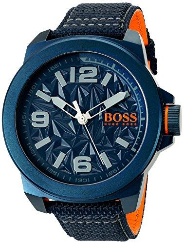 BOSS HUGO BOSS 1513353 Men's New York Analog Quartz Resin Canvas Blue Casual Watch