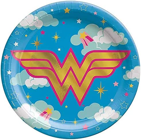 DC Superhero Girls Party Supplies Featuring Wonder Woman Plates Napkins Utensils and Bonus Printed Ribbon