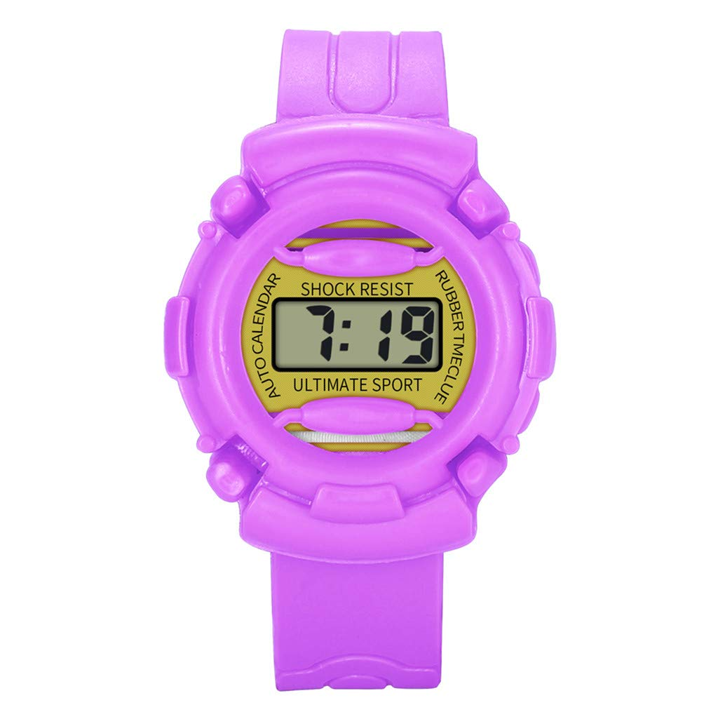 XBKPLO Kids Watch,Digital LED Sport Watches Boys Girls Waterproof Multicolor PU Resin Strap Comfortable Breathable For Age 5-16 Child (Purple)