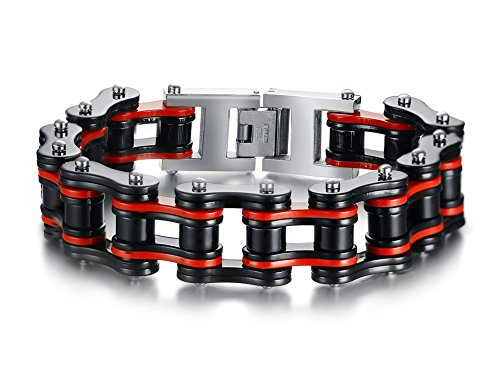 Vnox 16.5MM Stainless Steel Black&Red Bike Chain Braided Heavy Link Bracelet for Men Boy,8.5 Inches