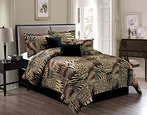 7 Piece KING Safari Micro Fur Comforter set - Zebra, Giraffe, Leopard, Tiger Etc - Multi Animal Print Bed in a Bag Brown Beige Black White Bedding ()