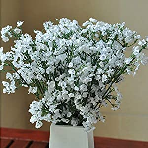 12PCS Artificial Flowers White Gypsophila Baby Breath Flowers Real Touch Flowers for Wedding Party Home Garden Decoration 113
