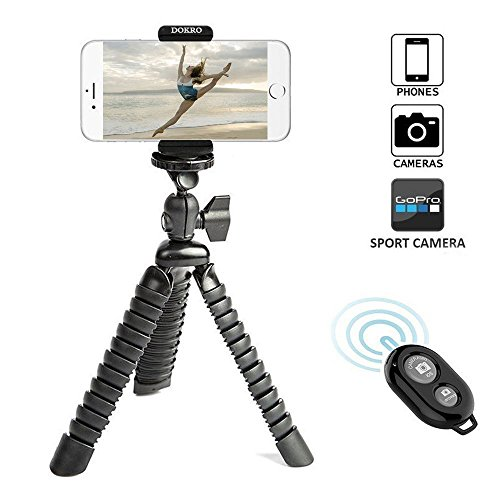 DOKRO iPhone Tripod Flexible with Universal Clip and Remote for iPhone, Camera, DSLR, GoPro(Black)