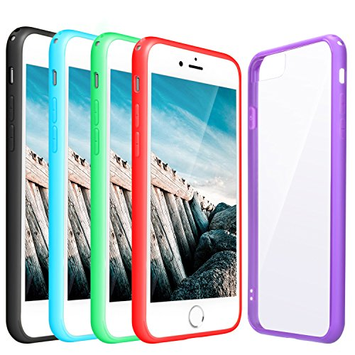 iPhone 7 Plus Case, Pofesun 5 Pack Hybrid TPU and PC Frame Bumper Case Clear Back Shock Absorption Protective Cover for iPhone 7 Plus 5.5 Inch(Black, Blue, Red, Purple, (Gel Case Pack)