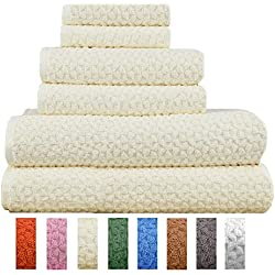 Hardwick 6 Piece Turkish Cotton Luxury Towel Set - Thick and Absorbent Sculpted Jacquard Towel Set Made with 100% Turkish Cotton