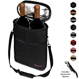 wine carrier tote - Premium Insulated 2 Bottle Wine Carrier Tote Bag | Wine Travel Bag with Shoulder Strap, Padded Protection, and Corkscrew Opener | Wine Cooler Bag