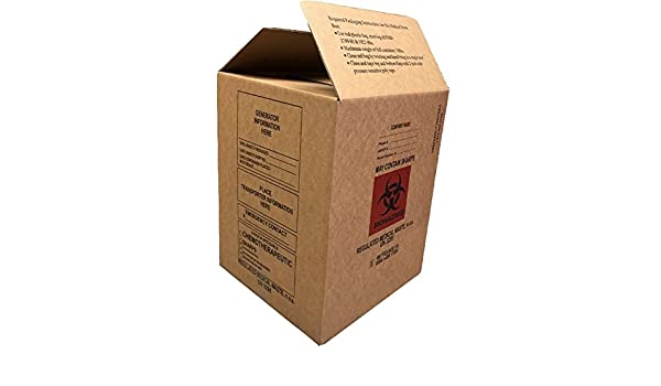 Pack of 30 6 Width Medegen 10-2002 Biomedical Waste Container Corrugated Box with Liner 10.75 Length Flat Pack Red//Black 2.5 Gallon Capacity 12 Height