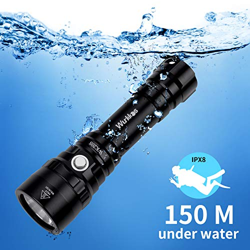 Diving Flashlight, Waterproof Scuba Diving Light 18650 with Cree XHP35 HI LED 5300K 4 Modes 2000 Lumens Underwater150m/164yard with Battery (Best Diving Led Flashlight)