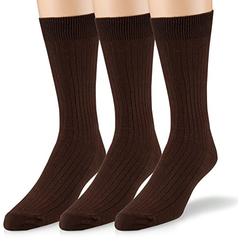 EMEM Apparel Men's Big and Tall King Size Casual Soft Ribbed Cotton Knit Classic Mid Calf Crew Dress Hosiery Socks 3-Pack Brown 13-15