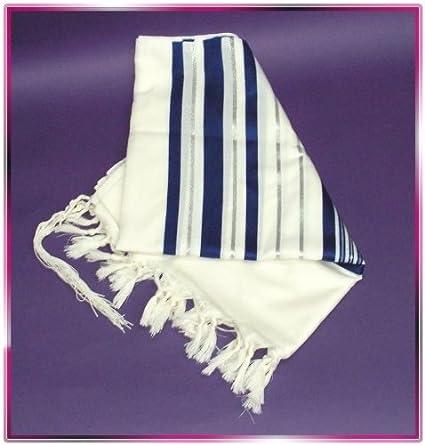 nuova versione repliche fabbricazione abile In ebraico blu-argento Tallit Talit preghiera scialle S = 45 ...