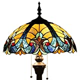 Tiffany Style Floor Standing Lamp 64 Inch Tall Blue Liaison Stained Glass Shade 2 Light Antique Base for Bedroom Living Room Reading Lighting Coffee Table Set S160E WERFACTORY