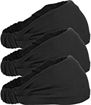Mudder 3 Pieces Elastic Sports Headband Wicking Sweatband 5 Inch for Fashion, Yoga and Exercise (Black)