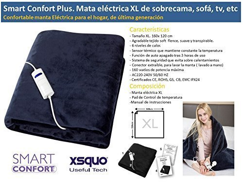 MANTA ELECTRICA XL DE SOBRECAMA, SOFÁ, TV. SMART CONFORT PLUS DE XSQUO: Amazon.es: Hogar