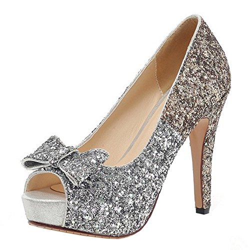 COOLCEPT Mujer Moda Sin Cordones Tacon de Aguja Bombas Zapatos Peep Toe Shiny Sandalias With Bowknot Oro