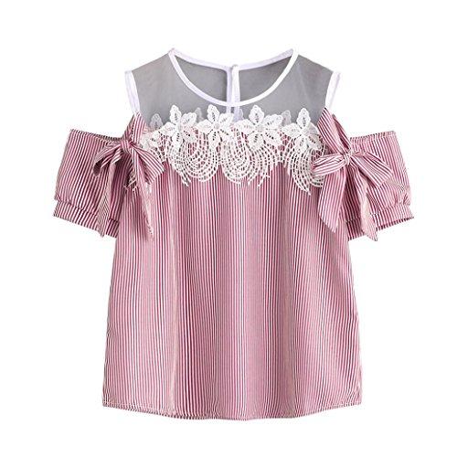 OverDose mujer camiseta atractivo sin hombros encaje rayad blusa tops Rosa