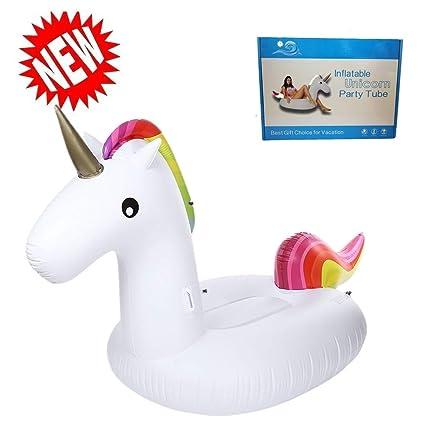 Inflable de Unicornio Flotador de Helado para piscina, Juguete para fiesta de piscina con válvula rápida piscina diversión para niños y adultos (Unicornio ...