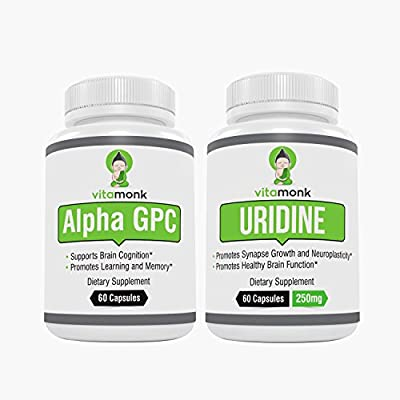 Alpha GPC + Uridine Stack by VitaMonk (No Artificial Fillers) - Superior Bioavailability Choline Supplements To Promote Cognition, Focus, Mental Clarity, Learning & Memory