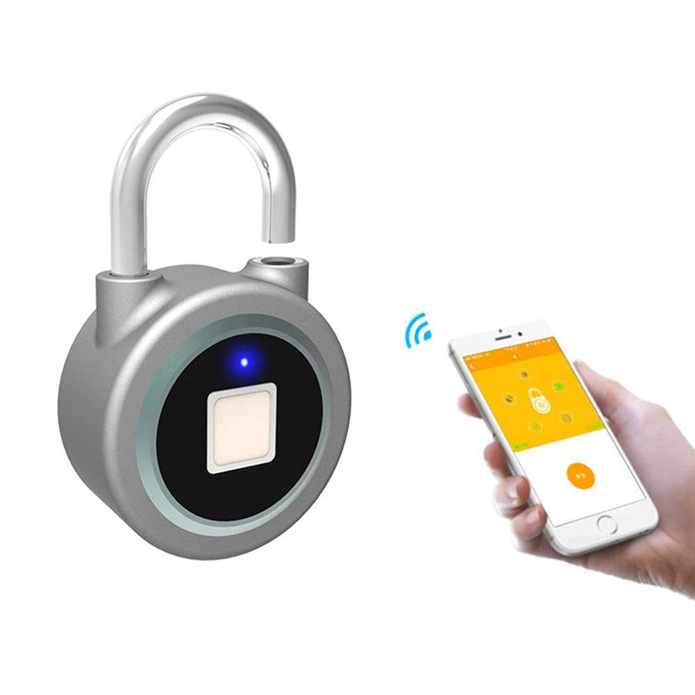 Smart Fingerprint Padlock Outdoor Waterproof Security Lock Bluetooth Anti-theft Keyless Padlock, 360 ° Touch 1 Second Fast Unlock for Suitcases, Gym Locker, Golf Bags, Handbags, School Bags, Cupboards