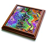 3dRose Perkins Designs - Abstract - colorful chaotic configuration of swirling lines and shapes randomly - 8x8 Trivet with 6x6 ceramic tile (trv_292649_1)