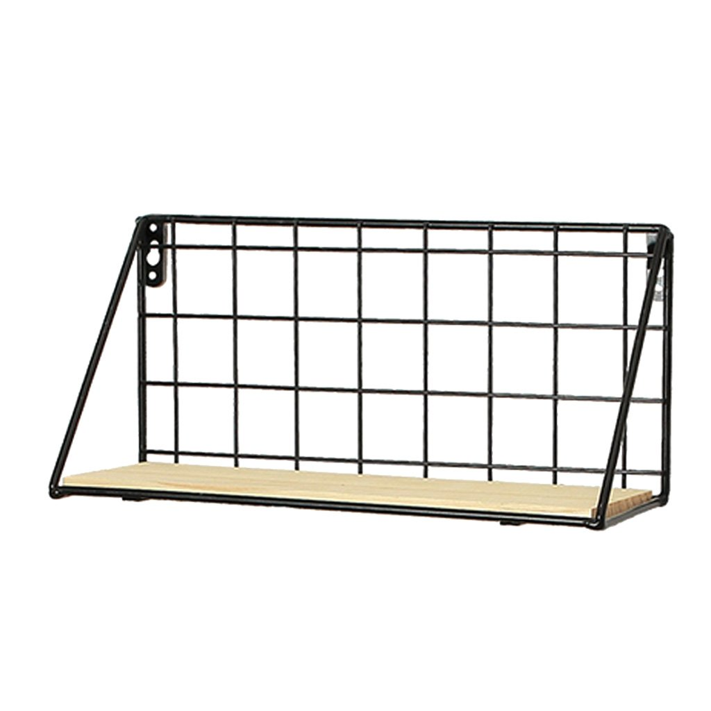 D DOLITY Black Wire Iron Corner Floating Wall Shelves Outdoor Garden Patio Green Plants Flowers Planter Holder Rack Stand - Black, S