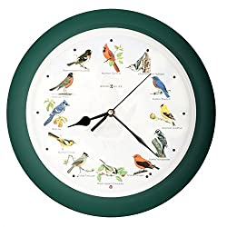 Lovely Collection 14-inch Plays 12 Popular North American Bird's Songs Wall Clock Mantel Clock Home Deco Multicolor (Green)