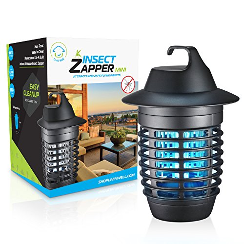 Livin' Well Electric Bug Zapper - Mini Insect Zapper Mosquito Killer Trap with 5W UVA Mosquito Trap Light + Steel Outdoor Indoor Bug Zapper Grid by Livin' Well