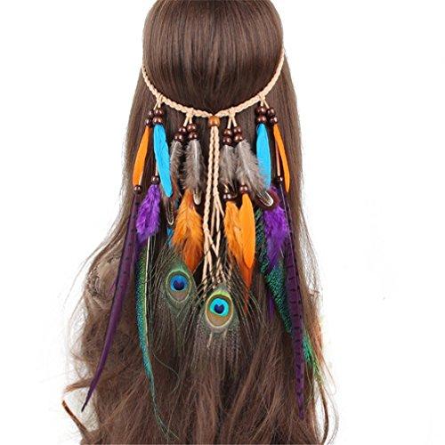 Women's Native Indian Dress (FIYA Peacock Feather Fascinator Native American Tassel Headband Hair Ornament)