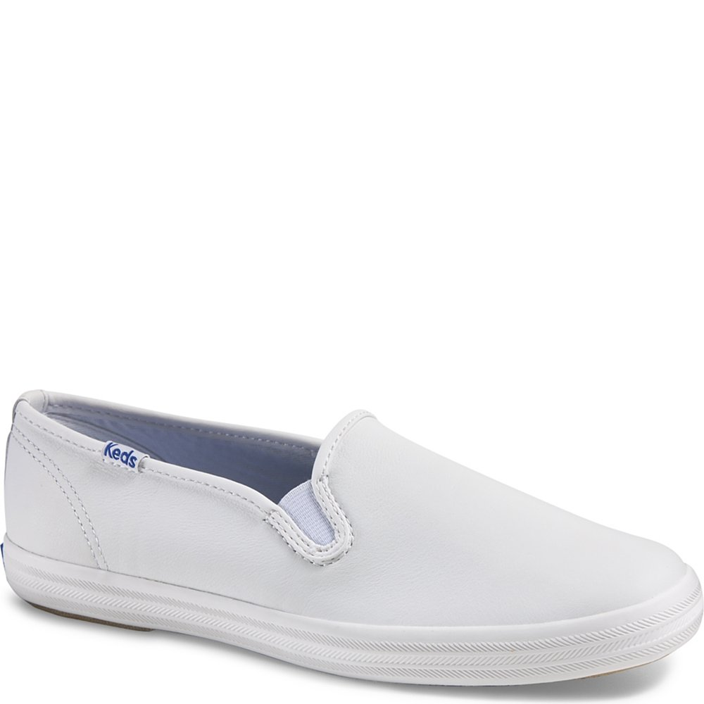 Keds Women's Champion Slip On Leather Slip On Sneakers, White, 9 S by Keds