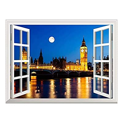 Pretty Piece of Art, Created Just For You, Removable Wall Sticker Wall Mural Full Moon Above Big Ben and House of Parliament London United Kingdom Creative Window View Wall Decor
