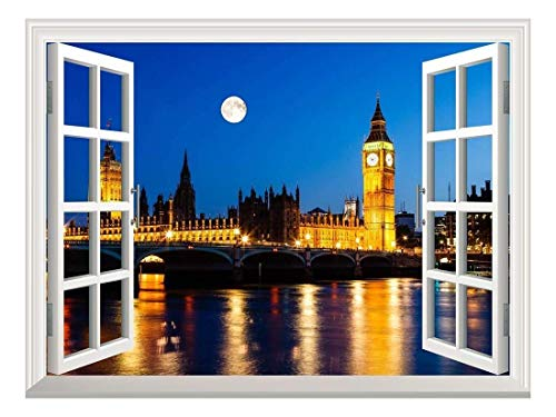 Removable Wall Sticker Wall Mural Full Moon Above Big Ben and House of Parliament London United Kingdom Creative Window View Wall Decor