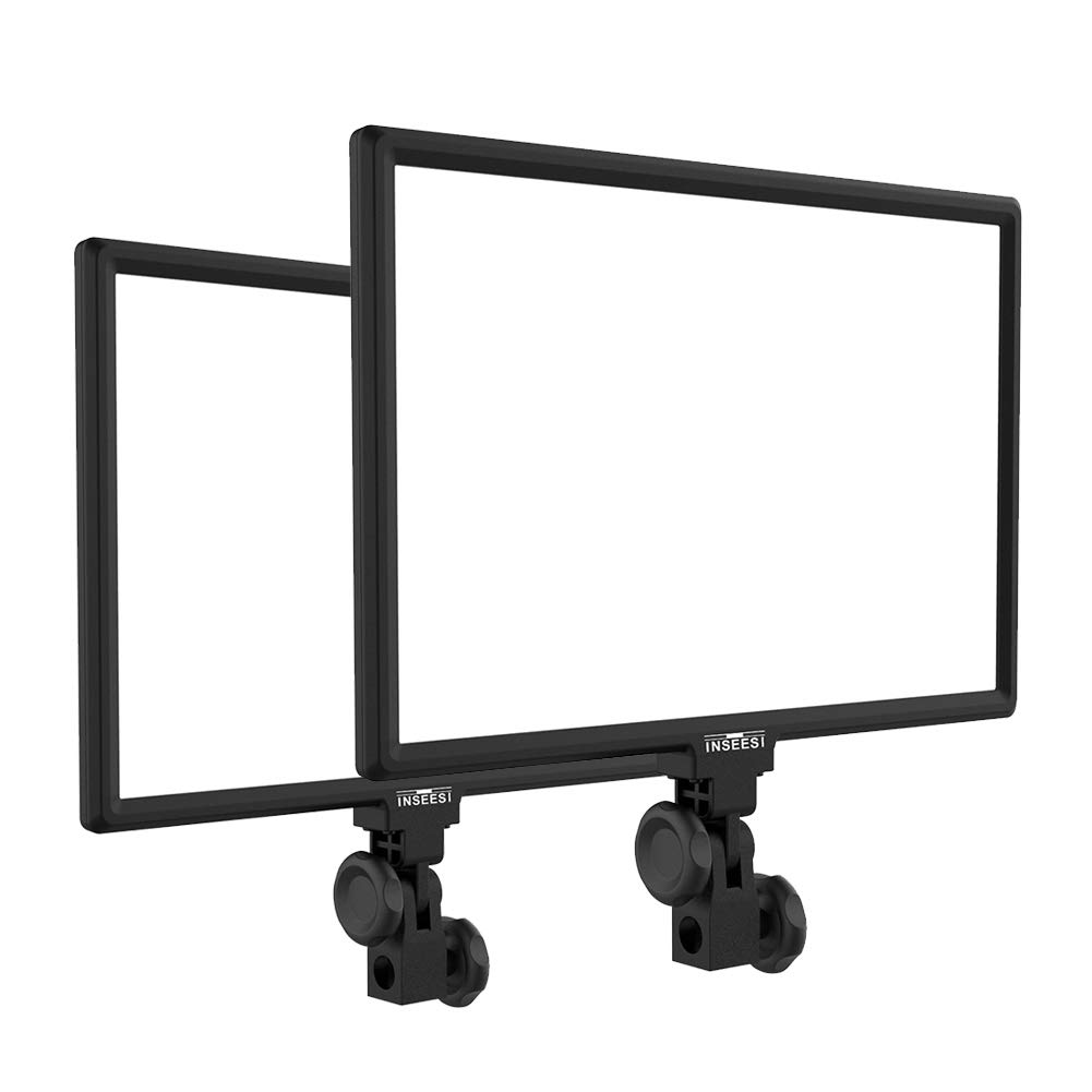INSEESI調光可能LEDビデオライト 2個セットCRI96+ 45W 3200K-5600K 4800Lux ACアダプター付き アルミニウム製 超薄型 デュアル色温度 フィルライトIN-600 写真 ビデオ撮影 照明YouTubeや映画など適用 2個  B07PKP6FX2