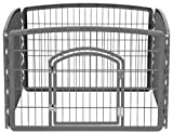 IRIS 24'' Exercise 4-Panel Pet Playpen with Door, Dark Gray