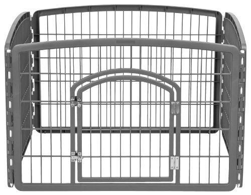 - IRIS 24'' Exercise 4-Panel Pet Playpen with Door, Dark Gray