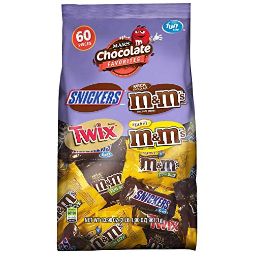 SNICKERS, M&M'S & TWIX Fun Size Candy Variety Mix, 60 Pieces -