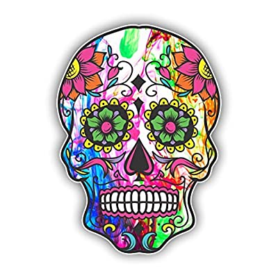 Vinyl Junkie Graphics Sugar Skull Sticker Dia de Los Muertos Decal Mexican Day of The Dead Stickers for Notebook car Truck Laptop Many Color Options (Color Burst): Automotive