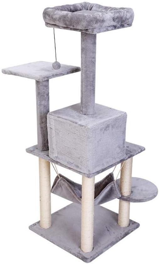 YongFeng 猫の木と塔、高級コンドミニアム付きマルチレベル猫塔、完全に包まれたサイザルの傷のポスト、プラッシュハンモックとぶら下がりボール、猫の豪華なプラットフォーム、猫のおもちゃ用品 猫のよじ登り塔 (Size : 64x49x132cm)