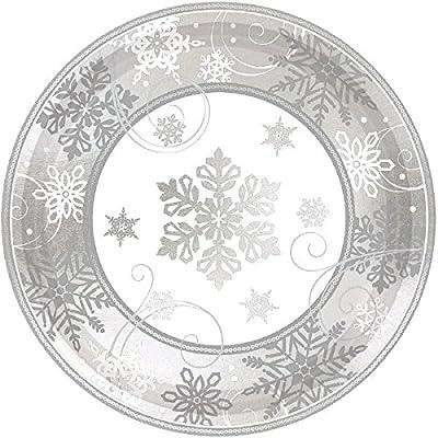 New Sparkling Snowflake Round Metallic Plates 18cm //8