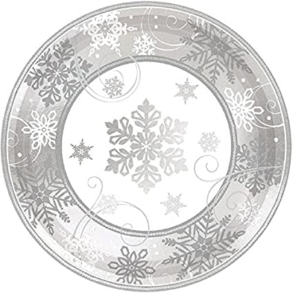 Sparkling Snowflake Round Metallic Dinner Paper Plates Christmas Party Disposable Tableware  sc 1 st  Amazon.com : snowflake paper plates - pezcame.com